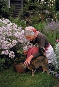Tasha Tudor in her garden.