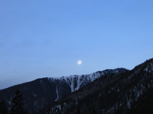 I treasure the mountains. This is the moon over Taos NM