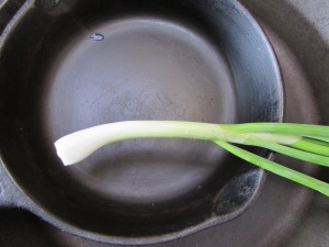 Green onion ready to be sauteed.