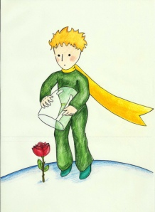 The Little Prince and his rose.
