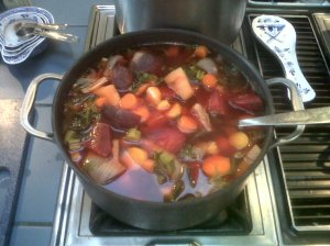 Kale, carrot and beet soup.