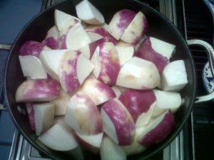 Fresh turnips about to be soup.