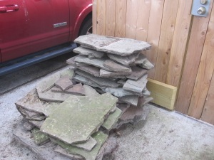 One pile of flagstone we salvaged.