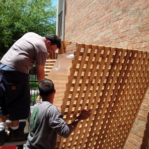 Attaching the cedar lattice panel