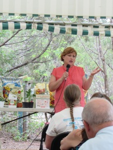Dee Nash speaking on Kitchen gardening in the Revival Tent at The Natural Gardener in Austin