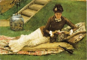 The painting A Lady Reading a Book in a Garden by the artist Frank Dicey (1838-1888)