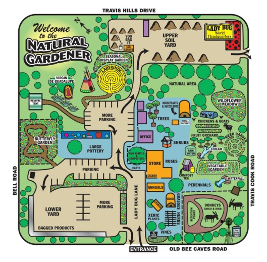 Site map to the Natural Gardener in Austin