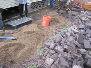 Reusing the pavers we took up near the carport.