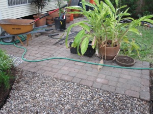 We reused the pavers here to make a patio off the grass and a place for the BBQ. We forgot to take an after picture : )