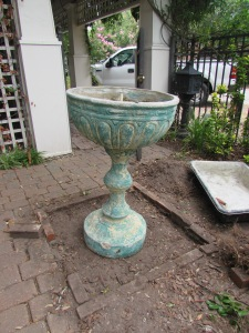 An existing fountain waiting for its new basin and location.