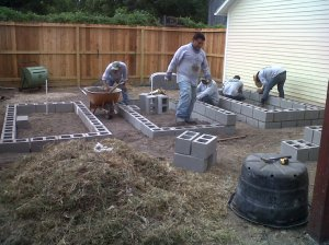 Constructing raised beds.