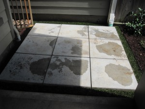 New patio using cement pads.