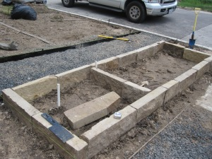 Raised bed using ledge stone