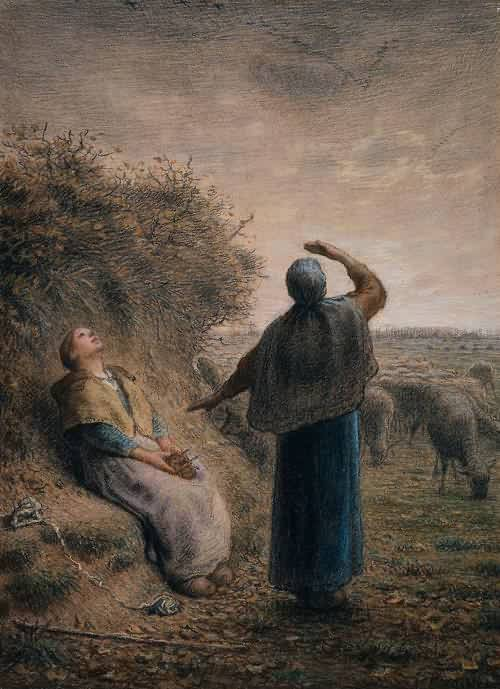 Shepherdesses Watching a Flight of Wild Geese, Jean Francois Millet 1866