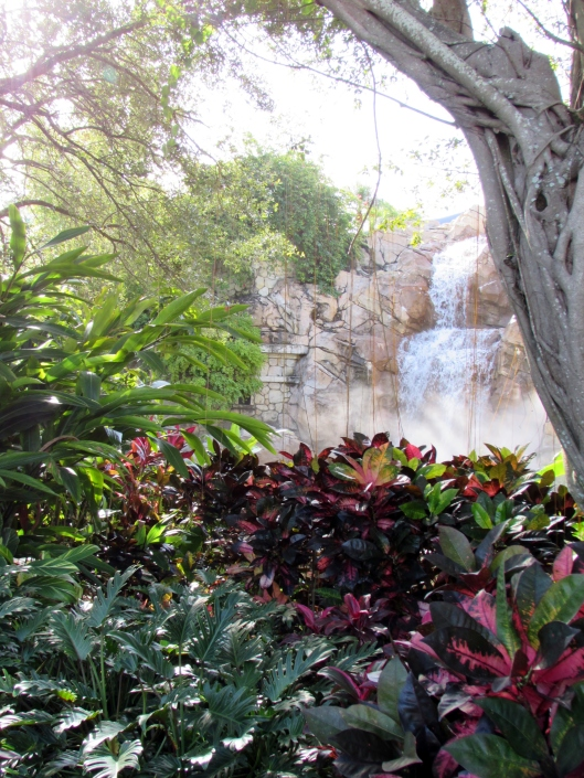 Plants are used to create frames for views , like of  this waterfall.