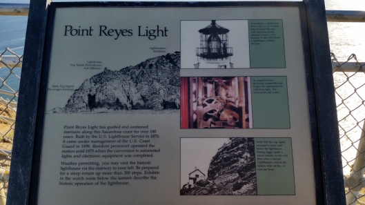 Placard at Point Reyes Lighthouse.