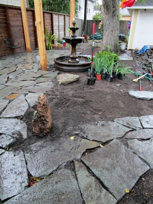 Setting rocks to add to a bit of a Zen feel.