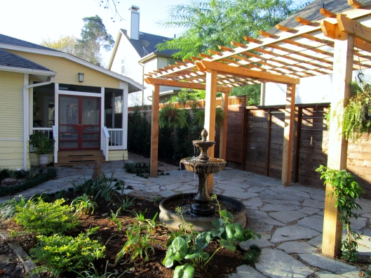 Pergola and flagstone patio