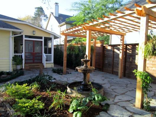 Pergola and flagstone patio