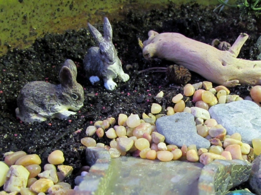 rabbits in the fairy garden