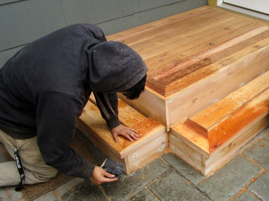sanding back stoop