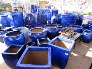 blue pots at Arbor Gate
