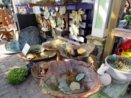 Wandering back to pay we saw these beautiful bird baths and wall art from a Texas artist.