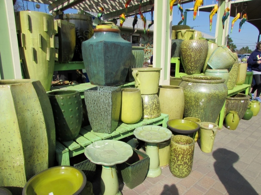 green pots at Arbor Gate