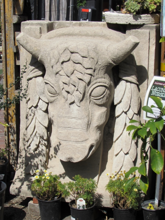 The 1920s carved stone bull head pictured at top, about 3  by 4 feet in size, came from the Chicago Mercantile Building.