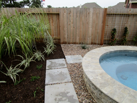 cement path to hot tub