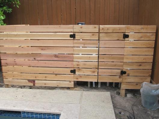 Cedar inclosure for pool equipment.
