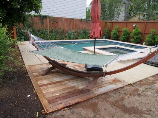 cedar deck by pool
