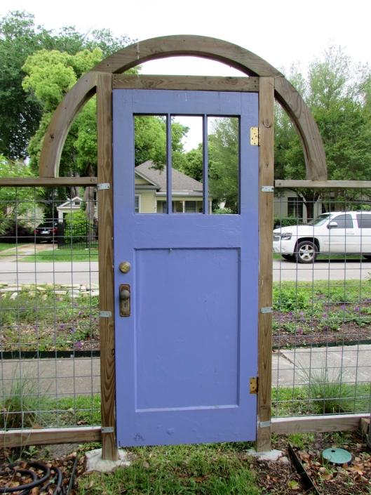 Blue door of Heights Bee garden