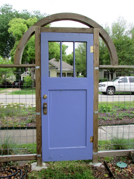Blue door of Heights Bee garden