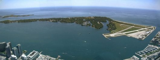 Photo Credit Cmglee - Own work Panorama of Toronto Islands viewed from the CN Tower.