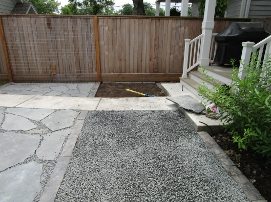 Patio and gravel.