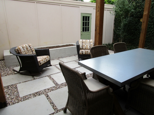 Finished modern courtyard patio.