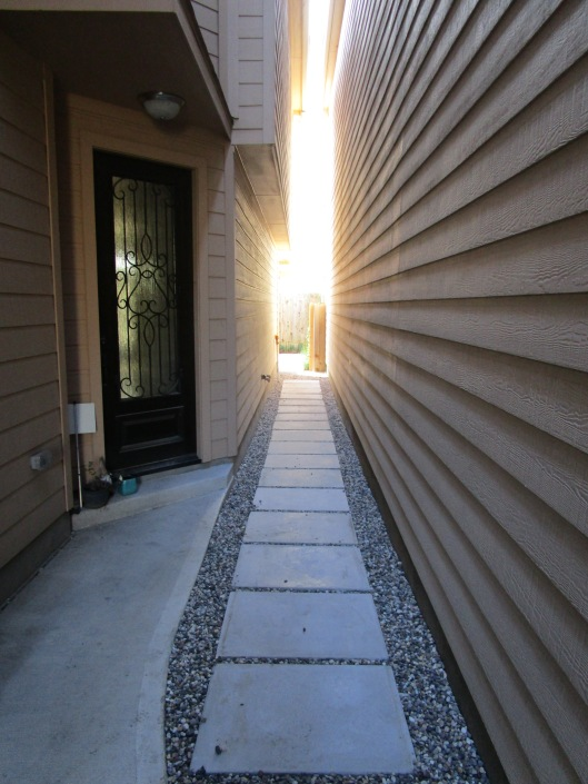 We also created a path to connect with the front door using the same cement pads.