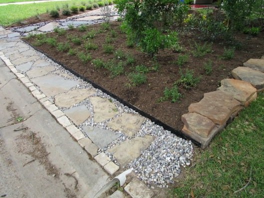 Flagstone and Rainbow Gravel Side Walk