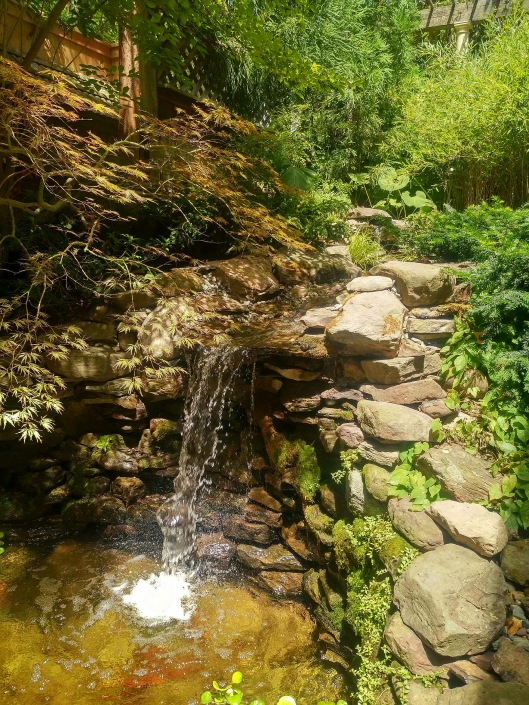 The waterfall at garden designer Jeff Minnich garden.